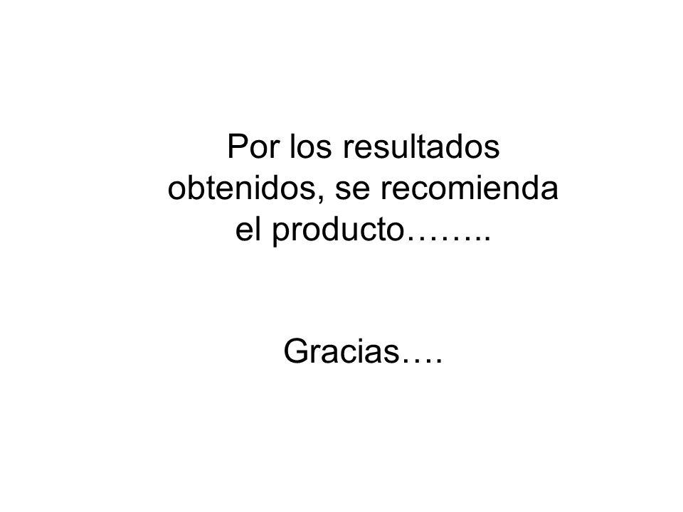 Por los resultados obtenidos, se recomienda el producto…….. Gracias….