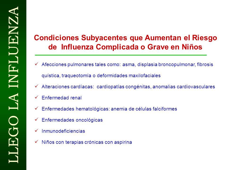 LLEGO LA INFLUENZA INFLUENZA EN PEDIATRÍA Signos y Síntomas Predominantes Comienzo súbito Anorexia Dolor abdominal, náuseas, vómitos y diarrea (70% en
