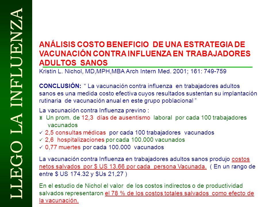 LLEGO LA INFLUENZA INFLUENZA AÑO 2.001 CHILE Entre 25 de Junio y 11 de Julio 17.250 casos ( incremento del 118% respecto al año 2.000) Cepa A H 3 N 2