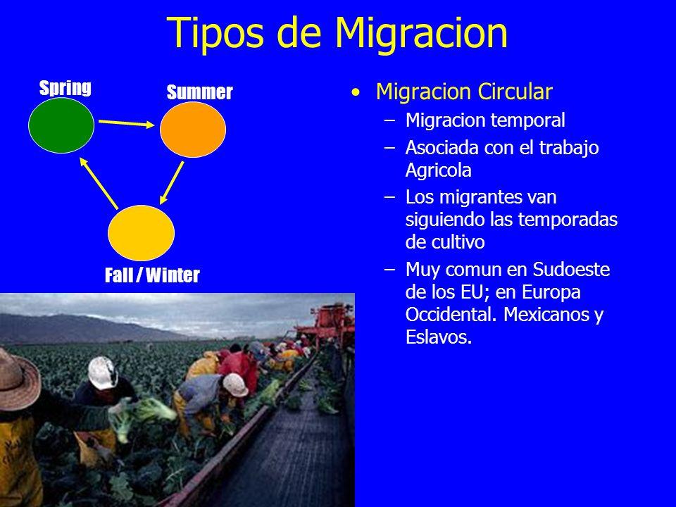 Tipos de Migracion Migracion Circular –Migracion temporal –Asociada con el trabajo Agricola –Los migrantes van siguiendo las temporadas de cultivo –Mu