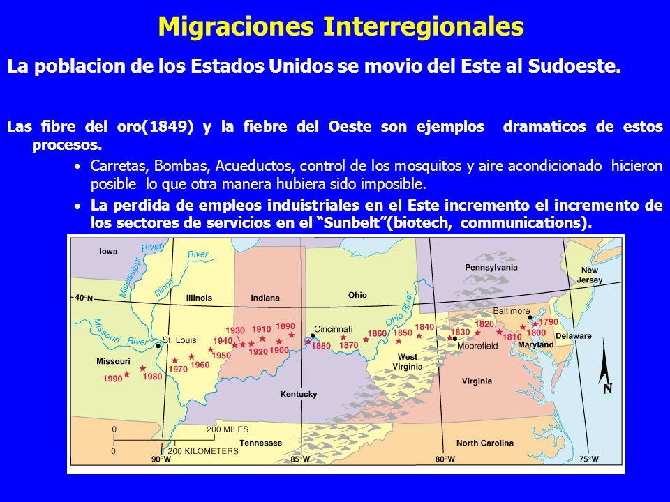 Migraciones Interregionales La poblacion de los Estados Unidos se movio del Este al Sudoeste. Las fibre del oro(1849) y la fiebre del Oeste son ejempl