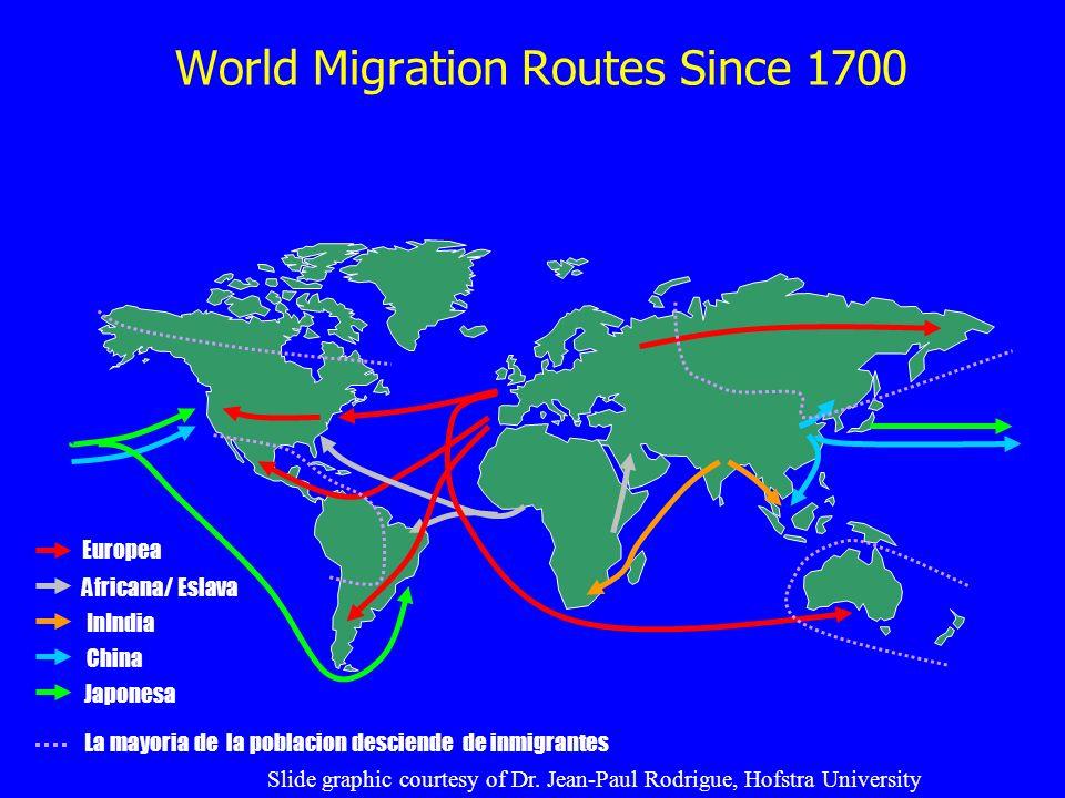 World Migration Routes Since 1700 Europea Africana/ Eslava InIndia China Japonesa La mayoria de la poblacion desciende de inmigrantes Slide graphic co