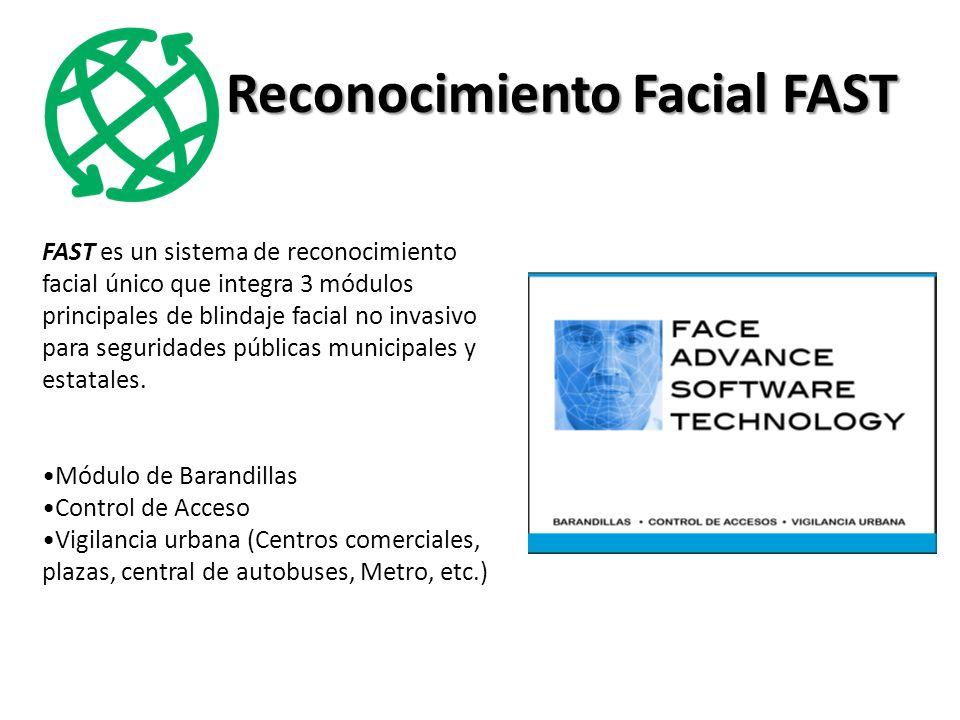 Reconocimiento Facial FAST FAST es un sistema de reconocimiento facial único que integra 3 módulos principales de blindaje facial no invasivo para seguridades públicas municipales y estatales.