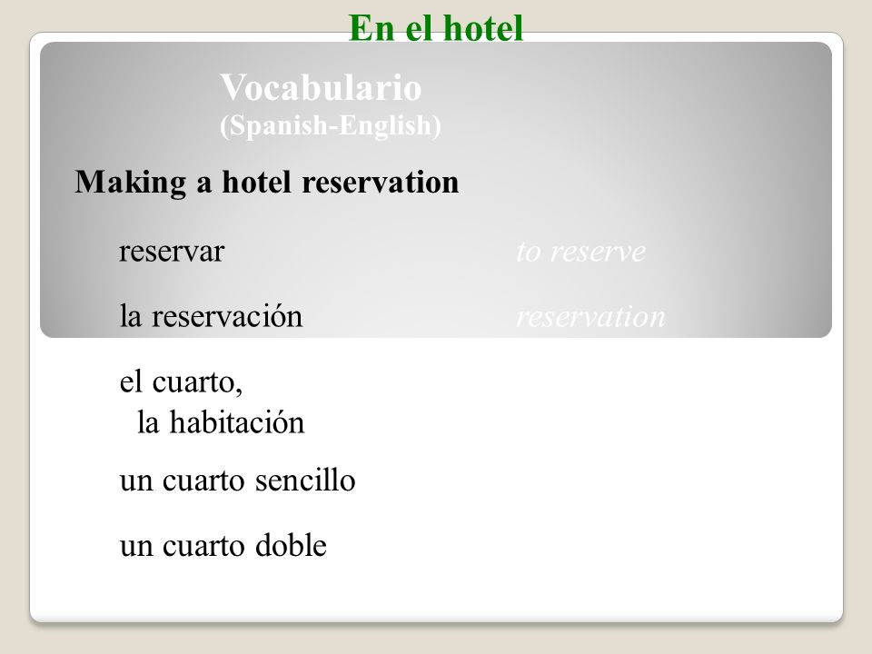 Picture Sequence Use pictures from the image bank as cues to tell a story. En el hotel