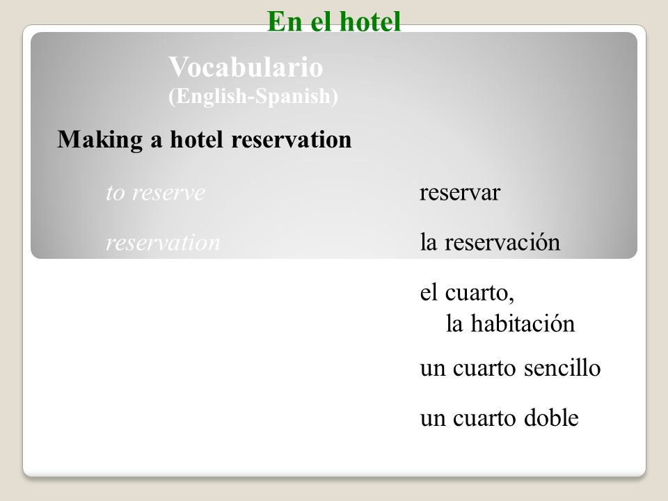 el/la camarero(a)housekeeper Talking about cleaning a hotel room Vocabulario En el hotel limpiar el cuartoto clean the room hacer la camato make the bed cambiar las toallasto change the towels (Spanish-English)