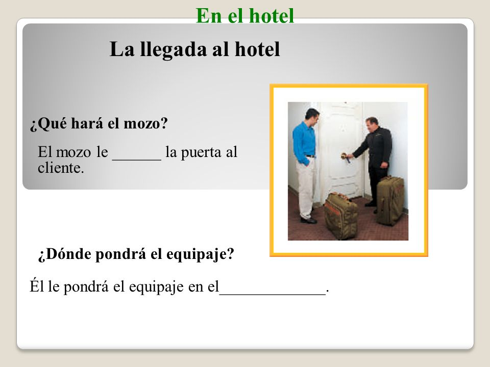 la bañerabathtub Talking about a bathroom Vocabulario En el hotel la duchashower el inodoro, el vátertoilet el lavabosink, washbasin el jabónsoap la toallatowel (English-Spanish)