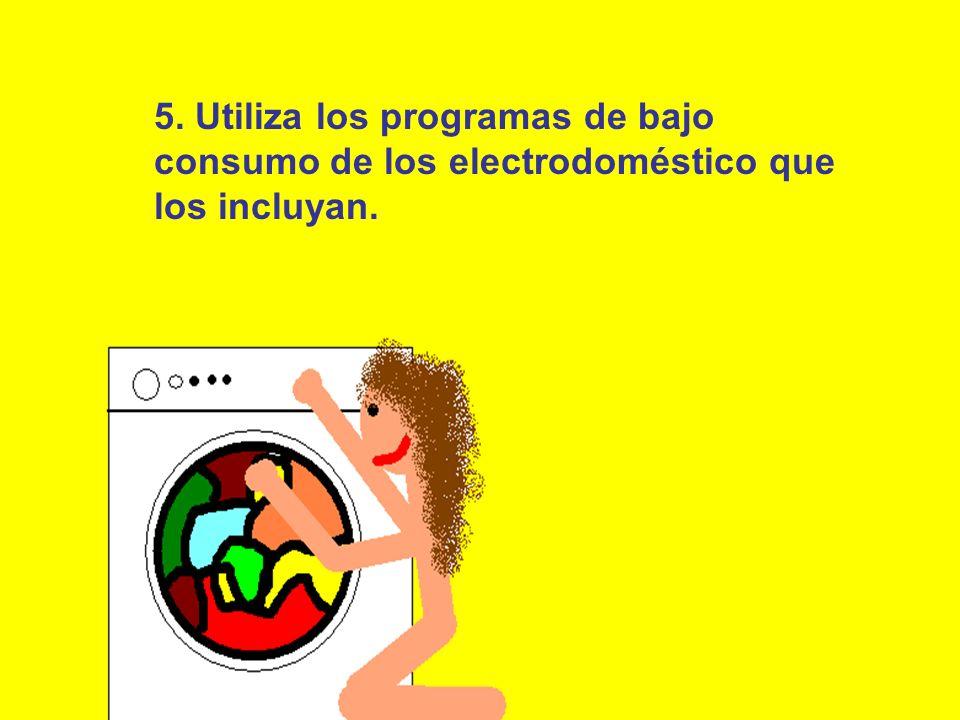 5. Utiliza los programas de bajo consumo de los electrodoméstico que los incluyan.