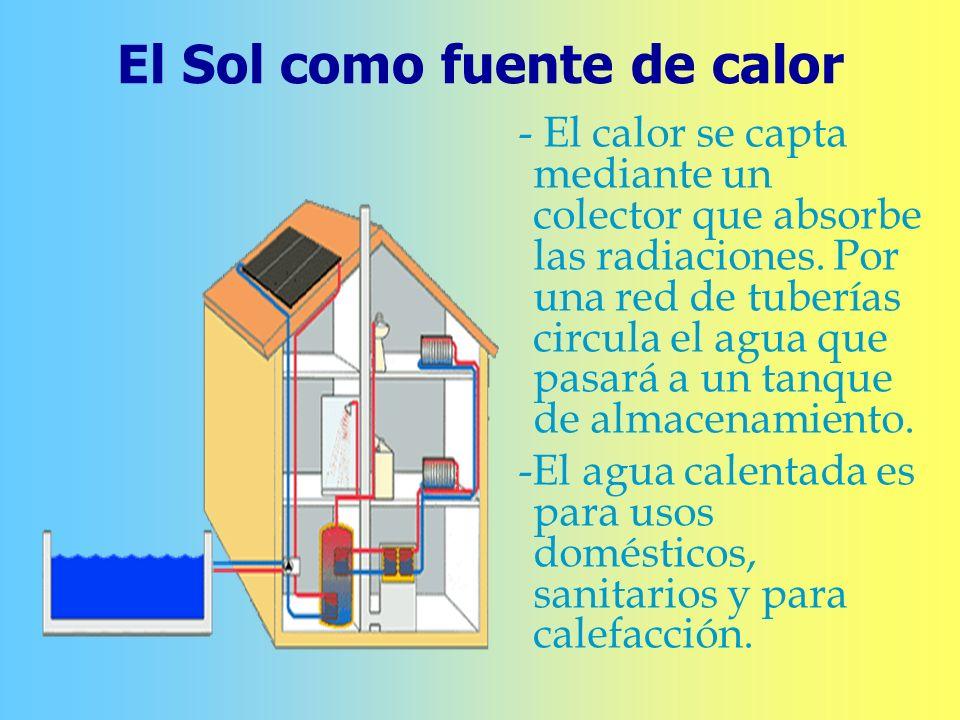 El Sol como fuente de calor - El calor se capta mediante un colector que absorbe las radiaciones. Por una red de tuberías circula el agua que pasará a