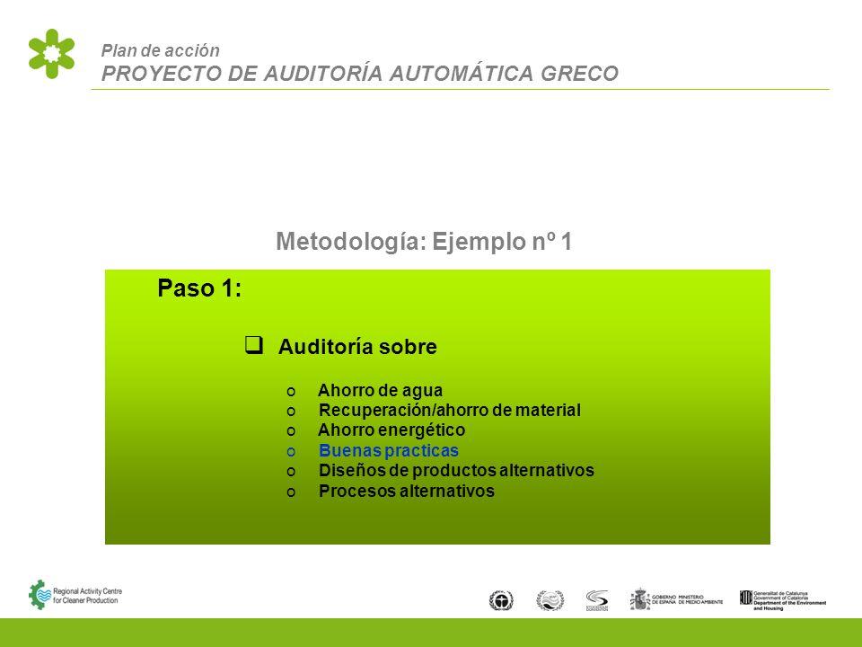 Plan de acción PROYECTO DE AUDITORÍA AUTOMÁTICA GRECO Metodología: Ejemplo nº 1 Paso 1: Auditoría sobre Ahorro de agua Recuperación/ahorro de material Ahorro energético Buenas practicas Diseños de productos alternativos Procesos alternativos