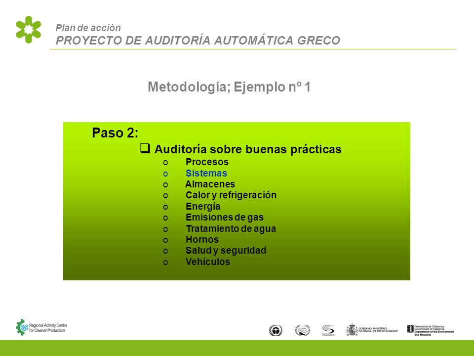 Plan de acción PROYECTO DE AUDITORÍA AUTOMÁTICA GRECO Metodología; Ejemplo nº 1 Paso 2: Auditoría sobre buenas prácticas Procesos Sistemas Almacenes Calor y refrigeración Energía Emisiones de gas Tratamiento de agua Hornos Salud y seguridad Vehículos