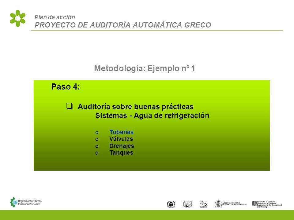 Plan de acción PROYECTO DE AUDITORÍA AUTOMÁTICA GRECO Metodología: Ejemplo nº 1 Paso 4: Auditoría sobre buenas prácticas Sistemas - Agua de refrigeración Tuberías Válvulas Drenajes Tanques