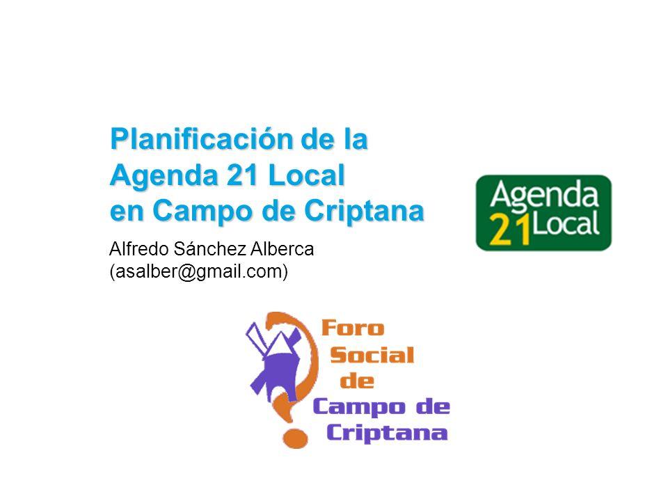 12Planificación de la Agenda 21 Local en Campo de Criptana La huella ecológica de la población mundial (2003) Huella ecológica: -2,26 (Ha/cap) Capacidad de carga: +1,80 (Ha/cap) Déficit ecológico: -0,46 (Ha/cap) ¡La humanidad está sobrepasando la capacidad de carga de la biosfera en más de un 20%!