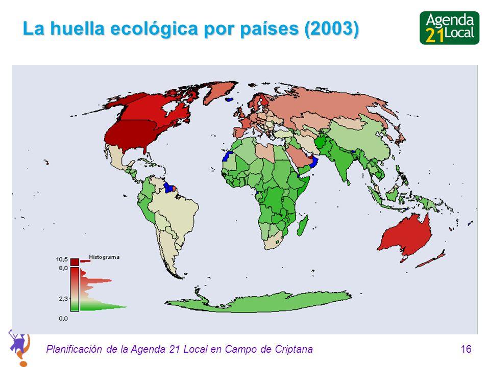 16Planificación de la Agenda 21 Local en Campo de Criptana La huella ecológica por países (2003)