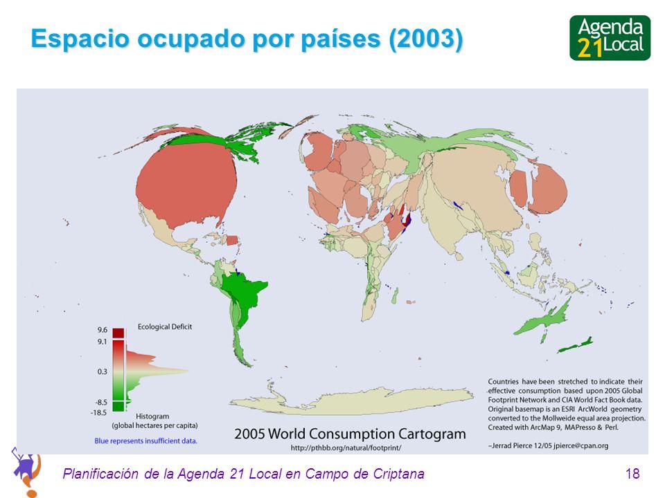 18Planificación de la Agenda 21 Local en Campo de Criptana Espacio ocupado por países (2003)