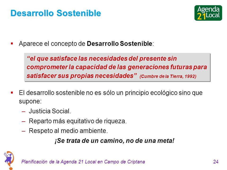 24Planificación de la Agenda 21 Local en Campo de Criptana Desarrollo Sostenible Aparece el concepto de Desarrollo Sostenible: El desarrollo sostenible no es sólo un principio ecológico sino que supone: –Justicia Social.