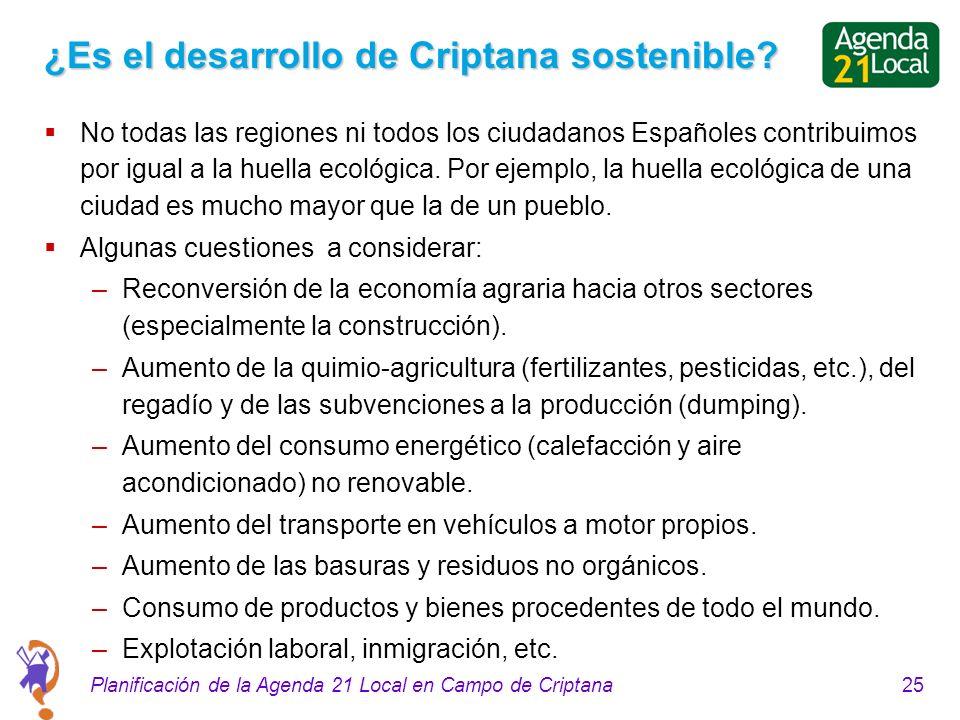 25Planificación de la Agenda 21 Local en Campo de Criptana ¿Es el desarrollo de Criptana sostenible? No todas las regiones ni todos los ciudadanos Esp