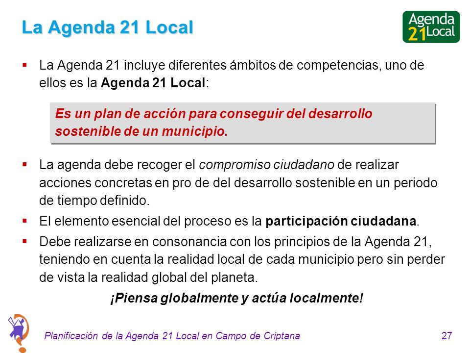 27Planificación de la Agenda 21 Local en Campo de Criptana La Agenda 21 Local La Agenda 21 incluye diferentes ámbitos de competencias, uno de ellos es la Agenda 21 Local: La agenda debe recoger el compromiso ciudadano de realizar acciones concretas en pro de del desarrollo sostenible en un periodo de tiempo definido.