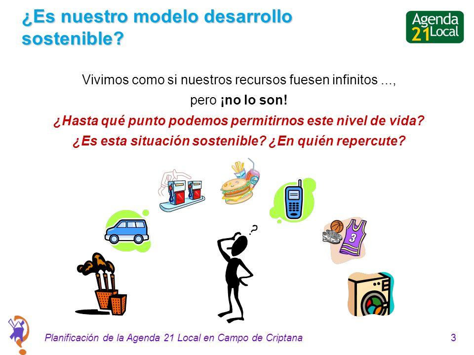 3Planificación de la Agenda 21 Local en Campo de Criptana ¿Es nuestro modelo desarrollo sostenible.
