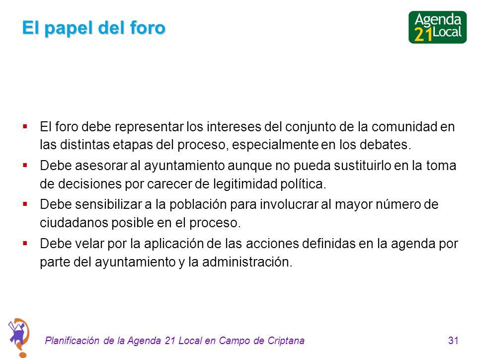 31Planificación de la Agenda 21 Local en Campo de Criptana El papel del foro El foro debe representar los intereses del conjunto de la comunidad en las distintas etapas del proceso, especialmente en los debates.