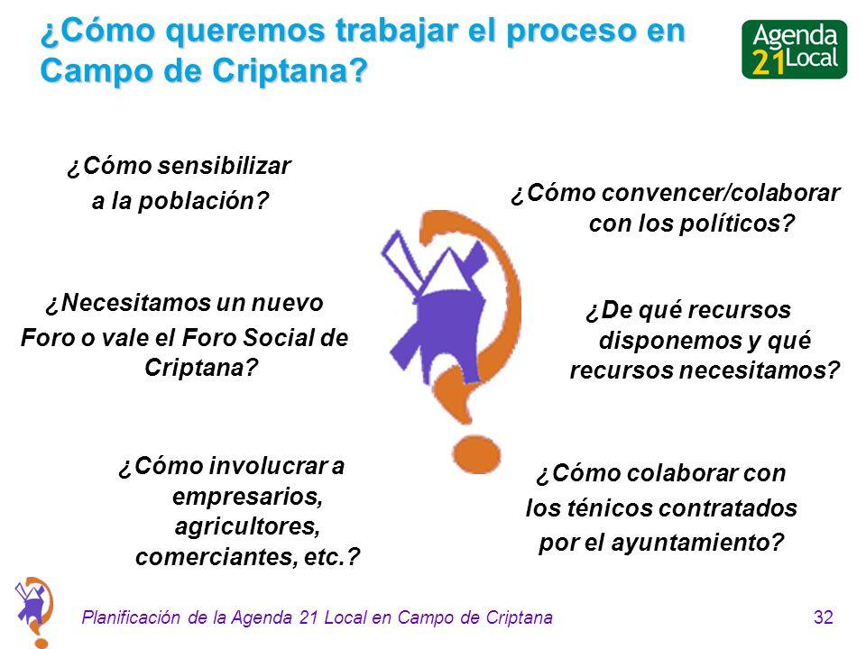32Planificación de la Agenda 21 Local en Campo de Criptana ¿Cómo queremos trabajar el proceso en Campo de Criptana? ¿Cómo sensibilizar a la población?