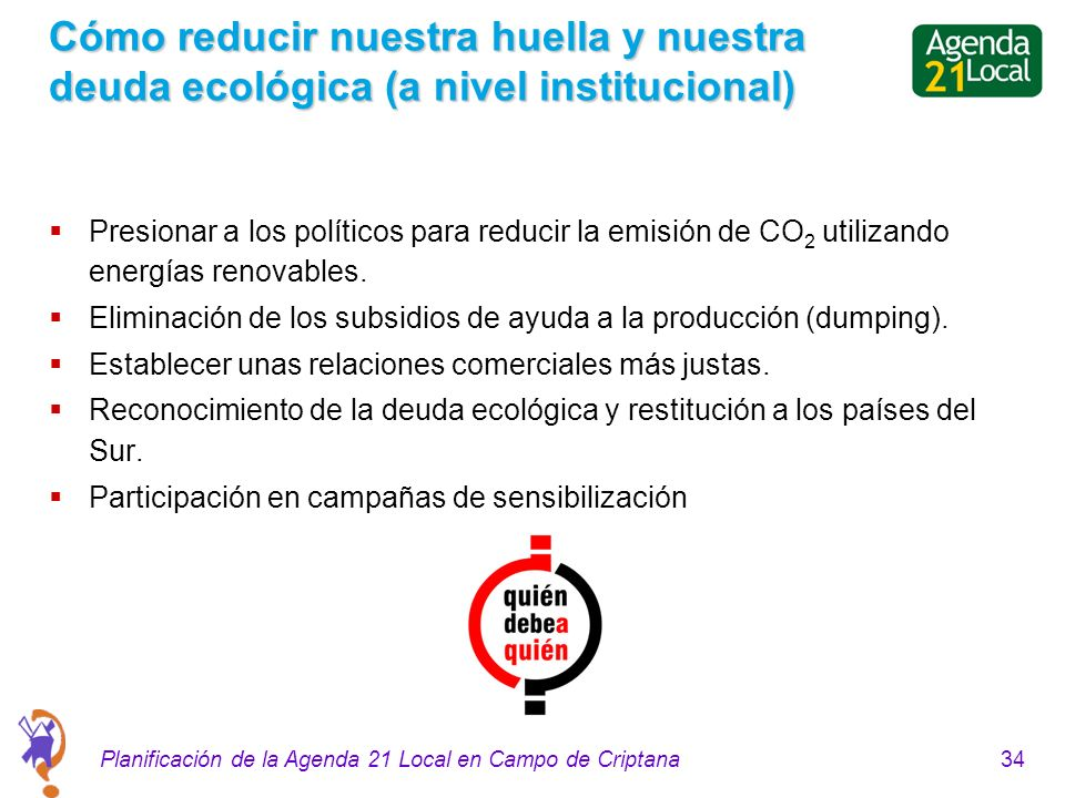 34Planificación de la Agenda 21 Local en Campo de Criptana Cómo reducir nuestra huella y nuestra deuda ecológica (a nivel institucional) Presionar a los políticos para reducir la emisión de CO 2 utilizando energías renovables.