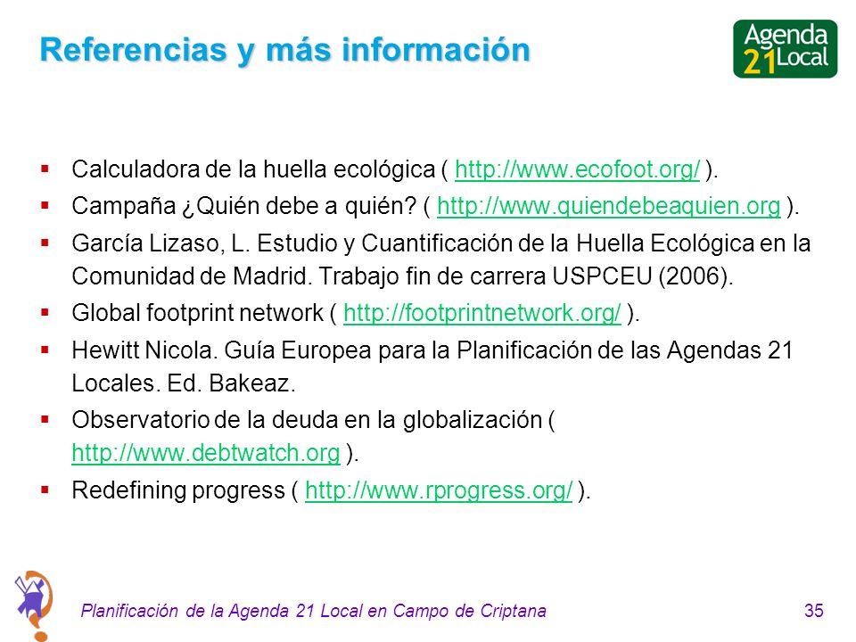 35Planificación de la Agenda 21 Local en Campo de Criptana Referencias y más información Calculadora de la huella ecológica ( http://www.ecofoot.org/