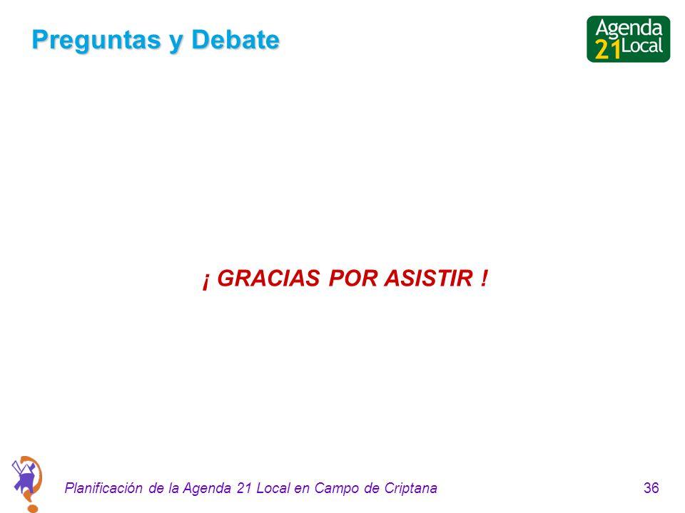 36Planificación de la Agenda 21 Local en Campo de Criptana Preguntas y Debate ¡ GRACIAS POR ASISTIR !