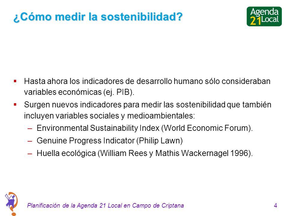 4Planificación de la Agenda 21 Local en Campo de Criptana ¿Cómo medir la sostenibilidad? Hasta ahora los indicadores de desarrollo humano sólo conside