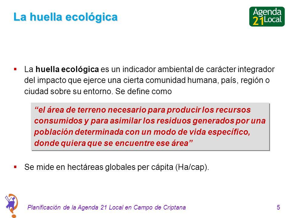 5Planificación de la Agenda 21 Local en Campo de Criptana La huella ecológica La huella ecológica es un indicador ambiental de carácter integrador del impacto que ejerce una cierta comunidad humana, país, región o ciudad sobre su entorno.