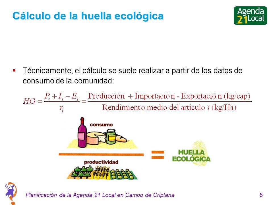 8Planificación de la Agenda 21 Local en Campo de Criptana Cálculo de la huella ecológica Técnicamente, el cálculo se suele realizar a partir de los datos de consumo de la comunidad: