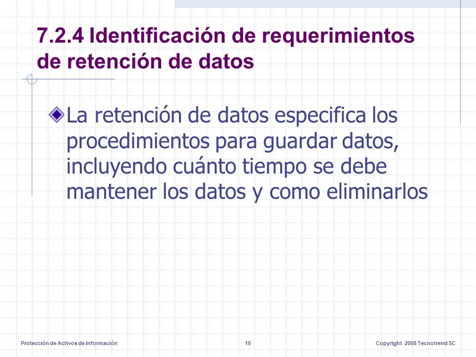 Protección de Activos de Información15Copyright 2008 Tecnotrend SC 7.2.4 Identificación de requerimientos de retención de datos La retención de datos