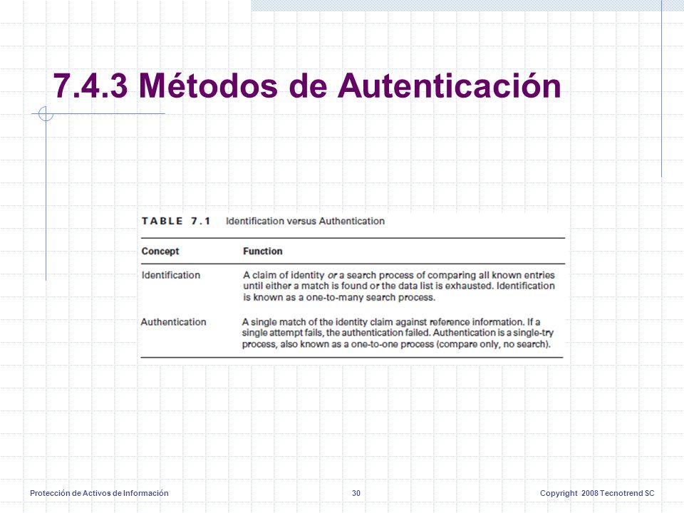 Protección de Activos de Información30Copyright 2008 Tecnotrend SC 7.4.3 Métodos de Autenticación