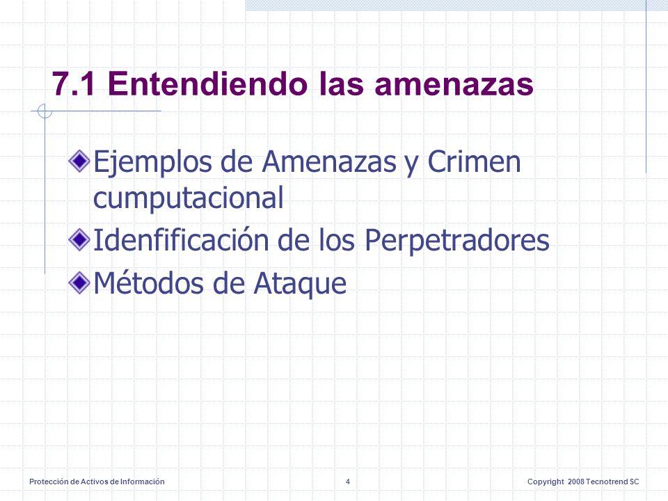 Protección de Activos de Información4Copyright 2008 Tecnotrend SC 7.1 Entendiendo las amenazas Ejemplos de Amenazas y Crimen cumputacional Idenfificación de los Perpetradores Métodos de Ataque
