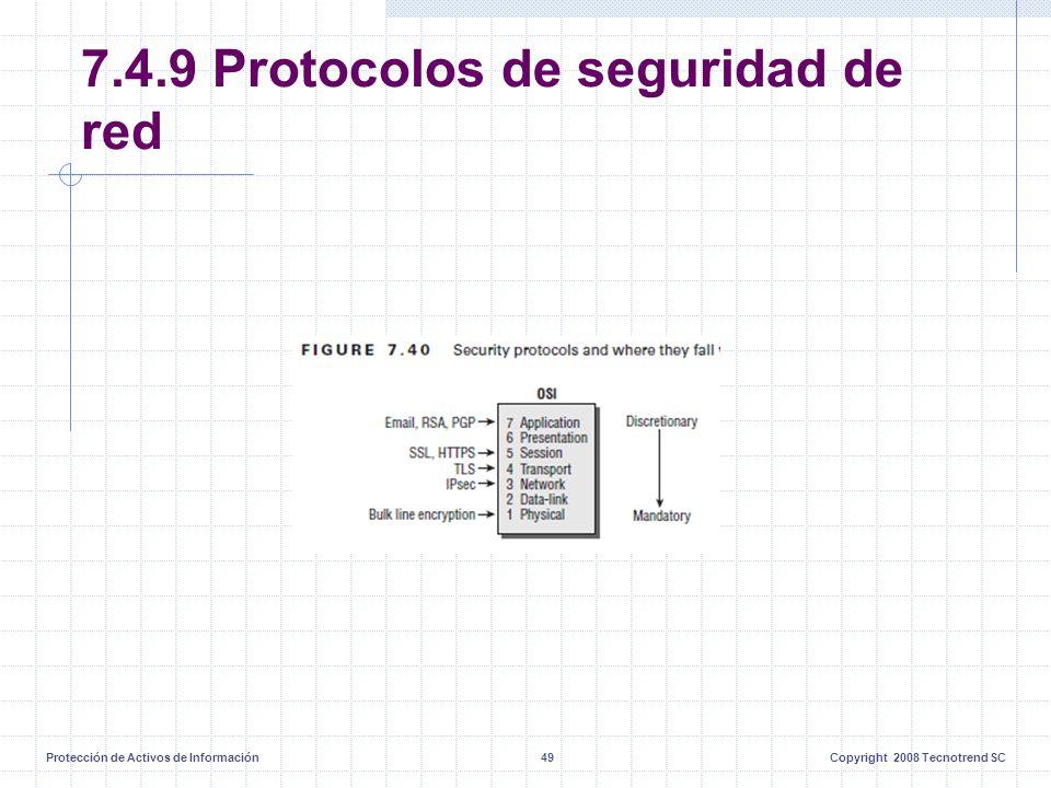 Protección de Activos de Información49Copyright 2008 Tecnotrend SC 7.4.9 Protocolos de seguridad de red
