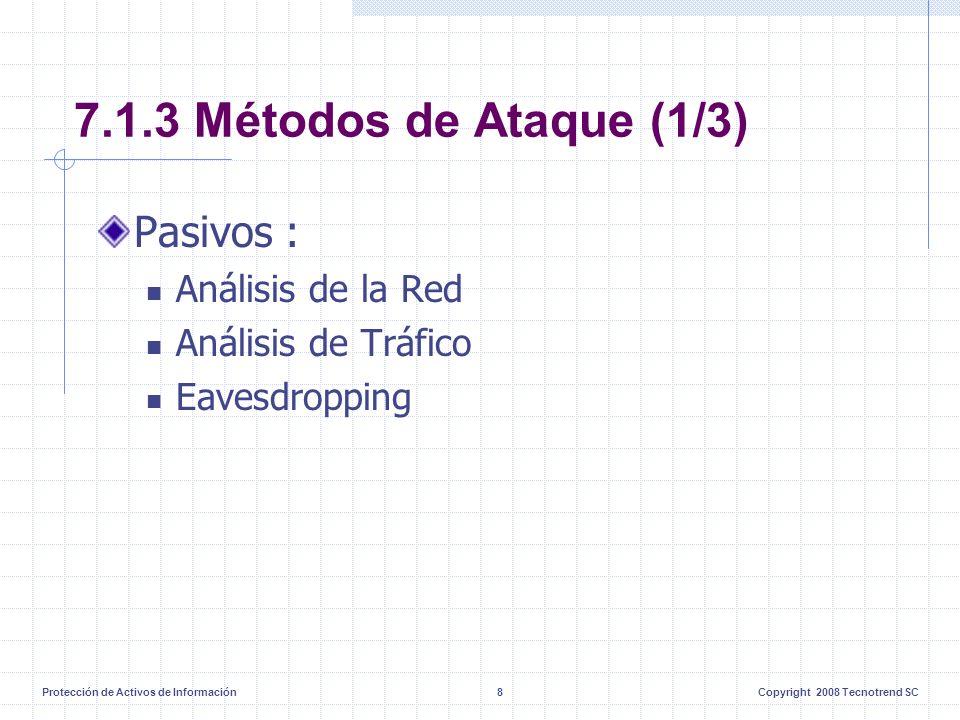 Protección de Activos de Información8Copyright 2008 Tecnotrend SC 7.1.3 Métodos de Ataque (1/3) Pasivos : Análisis de la Red Análisis de Tráfico Eaves