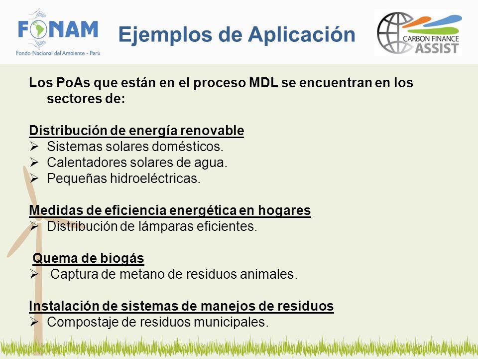 Ejemplos de Aplicación Los PoAs que están en el proceso MDL se encuentran en los sectores de: Distribución de energía renovable Sistemas solares domés