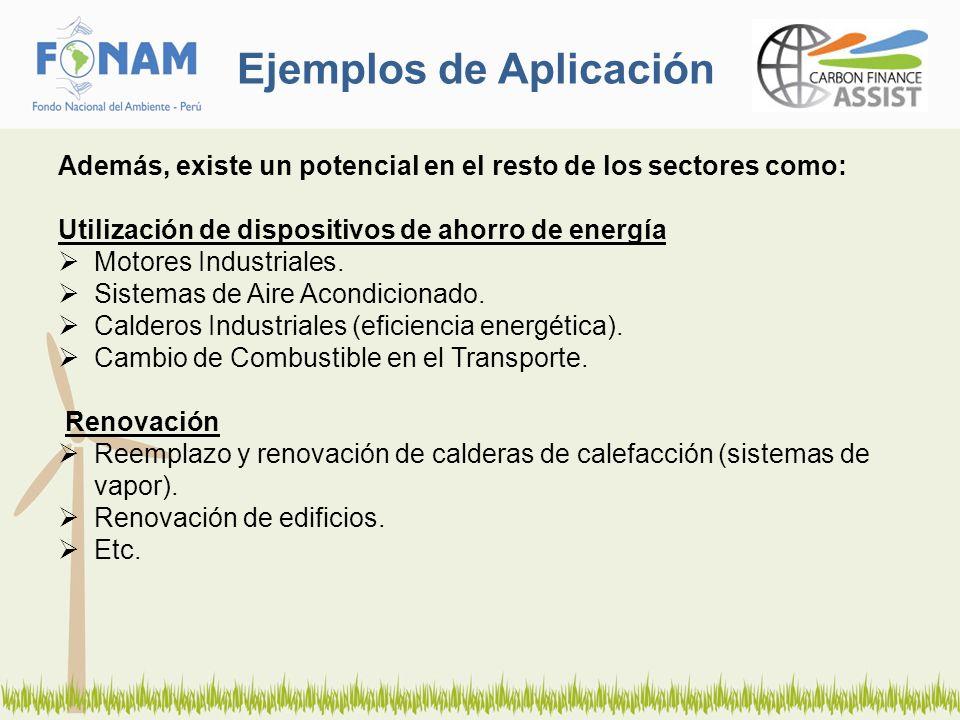 Ejemplos de Aplicación Además, existe un potencial en el resto de los sectores como: Utilización de dispositivos de ahorro de energía Motores Industri