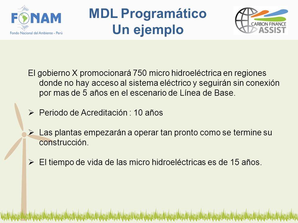 MDL Programático Un ejemplo El gobierno X promocionará 750 micro hidroeléctrica en regiones donde no hay acceso al sistema eléctrico y seguirán sin conexión por mas de 5 años en el escenario de Línea de Base.