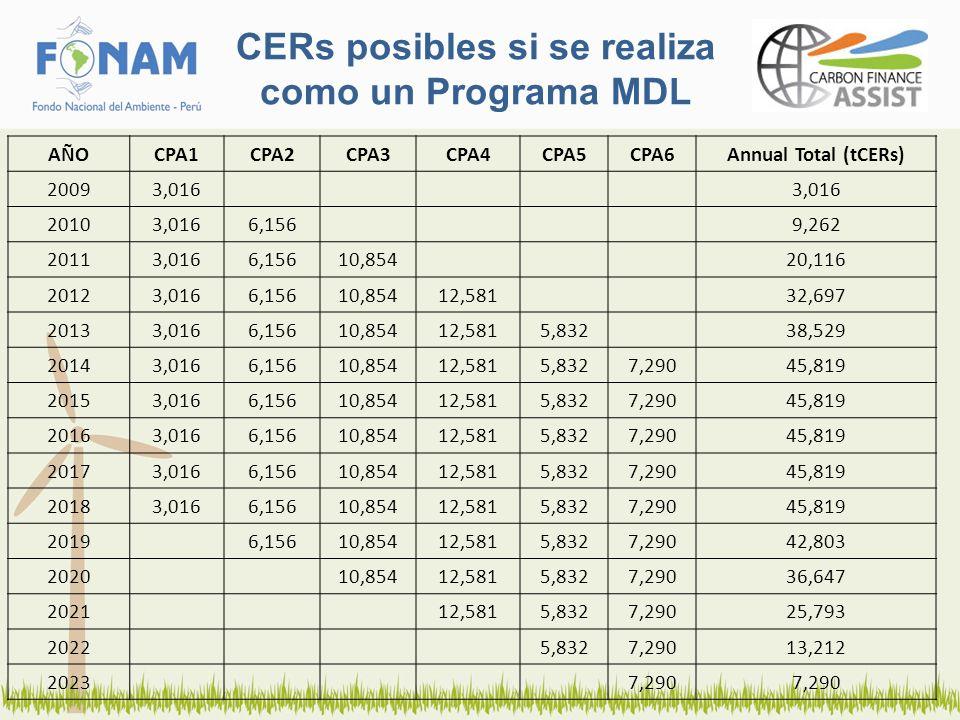 CERs posibles si se realiza como un Programa MDL AÑOCPA1CPA2CPA3CPA4CPA5CPA6Annual Total (tCERs) 20093,016 20103,0166,1569,262 20113,0166,15610,85420,
