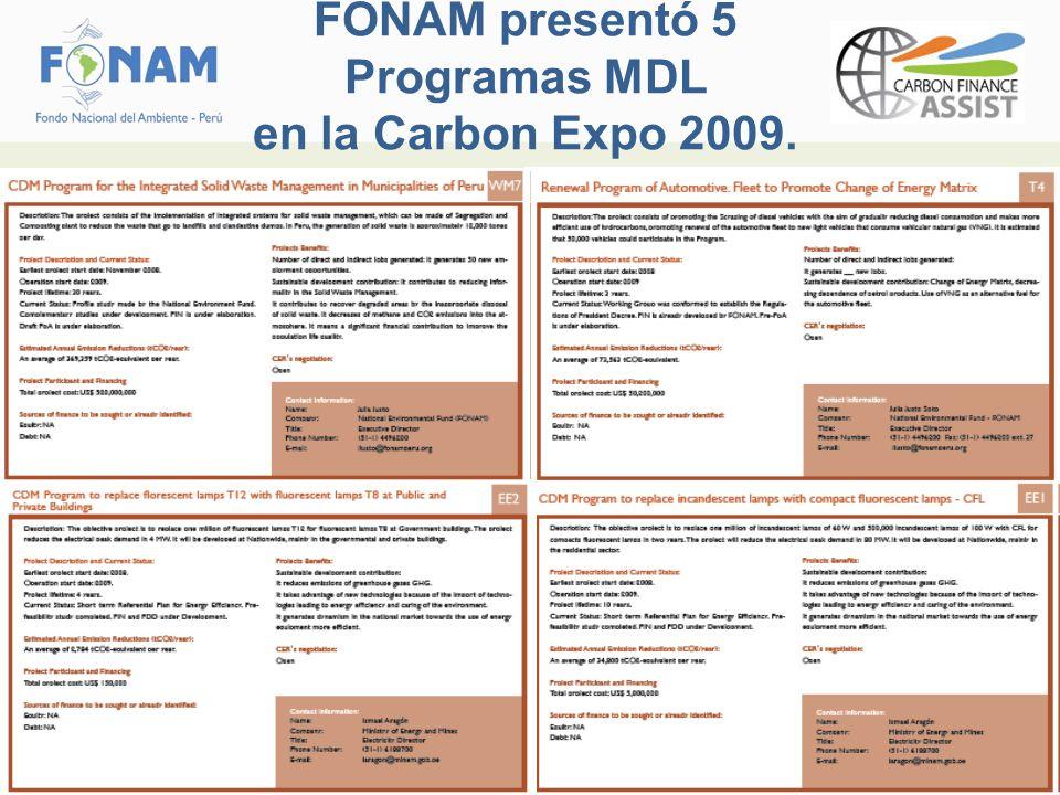 FONAM presentó 5 Programas MDL en la Carbon Expo 2009.