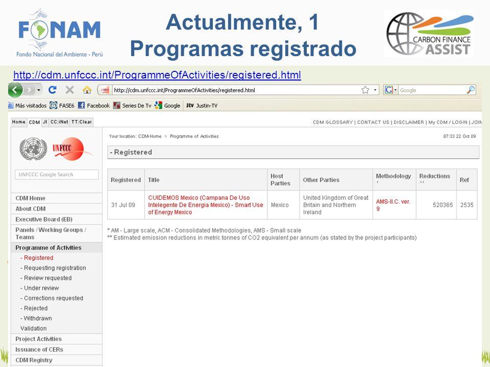 Actualmente, 1 Programas registrado http://cdm.unfccc.int/ProgrammeOfActivities/registered.html