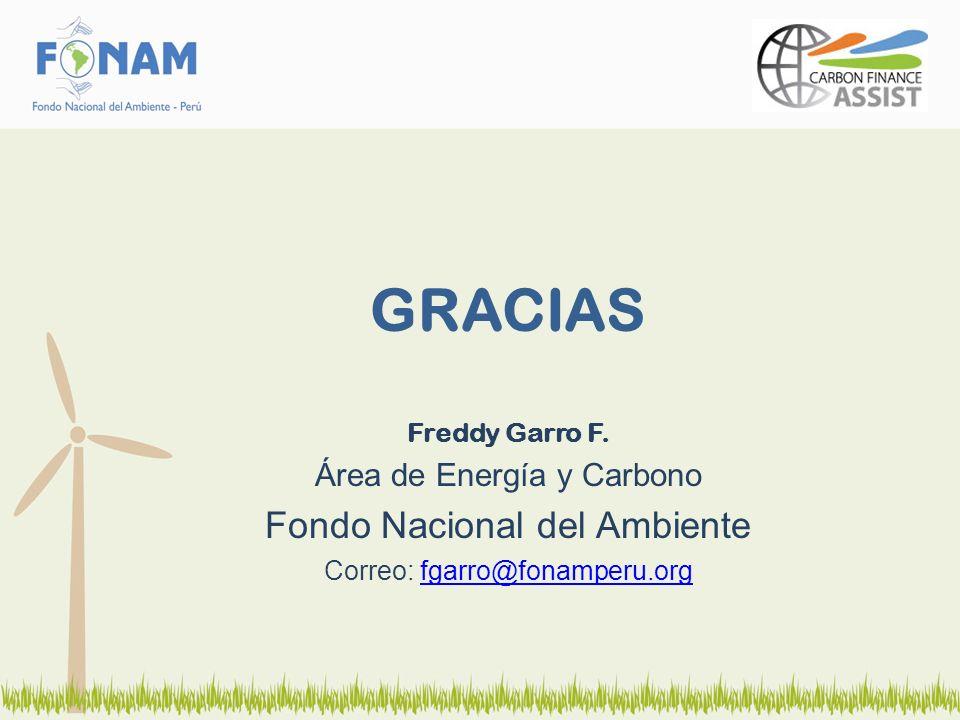 GRACIAS Freddy Garro F. Área de Energía y Carbono Fondo Nacional del Ambiente Correo: fgarro@fonamperu.orgfgarro@fonamperu.org
