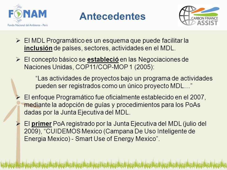 Antecedentes El MDL Programático es un esquema que puede facilitar la inclusión de países, sectores, actividades en el MDL. El concepto básico se esta