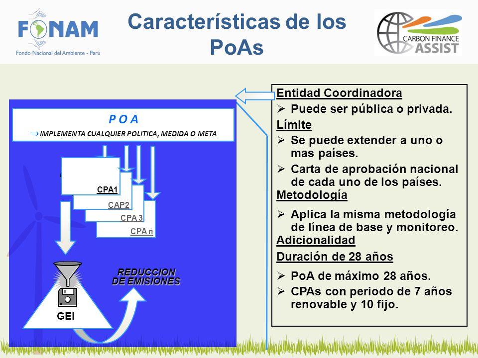 Características de los PoAs Entidad Coordinadora Puede ser pública o privada. Límite Se puede extender a uno o mas países. Carta de aprobación naciona