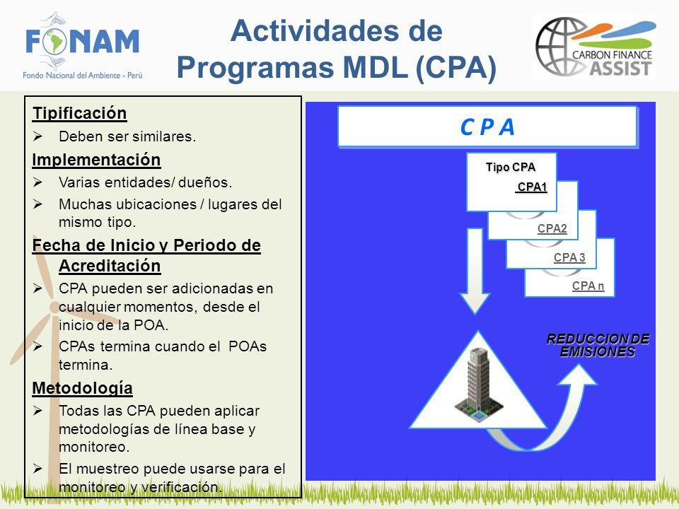 Actividades de Programas MDL (CPA) Tipificación Deben ser similares. Implementación Varias entidades/ dueños. Muchas ubicaciones / lugares del mismo t