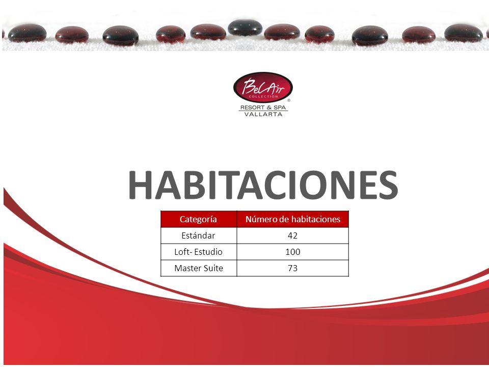 HABITACIONES CategoríaNúmero de habitaciones Estándar42 Loft- Estudio100 Master Suite73