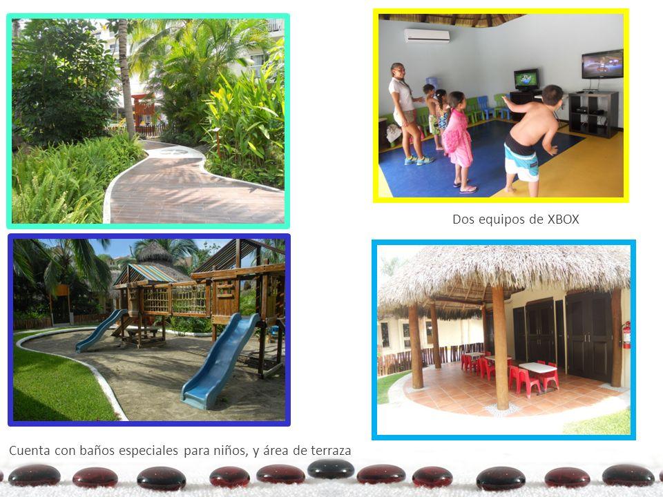 Kids Club Dos equipos de XBOX Cuenta con baños especiales para niños, y área de terraza