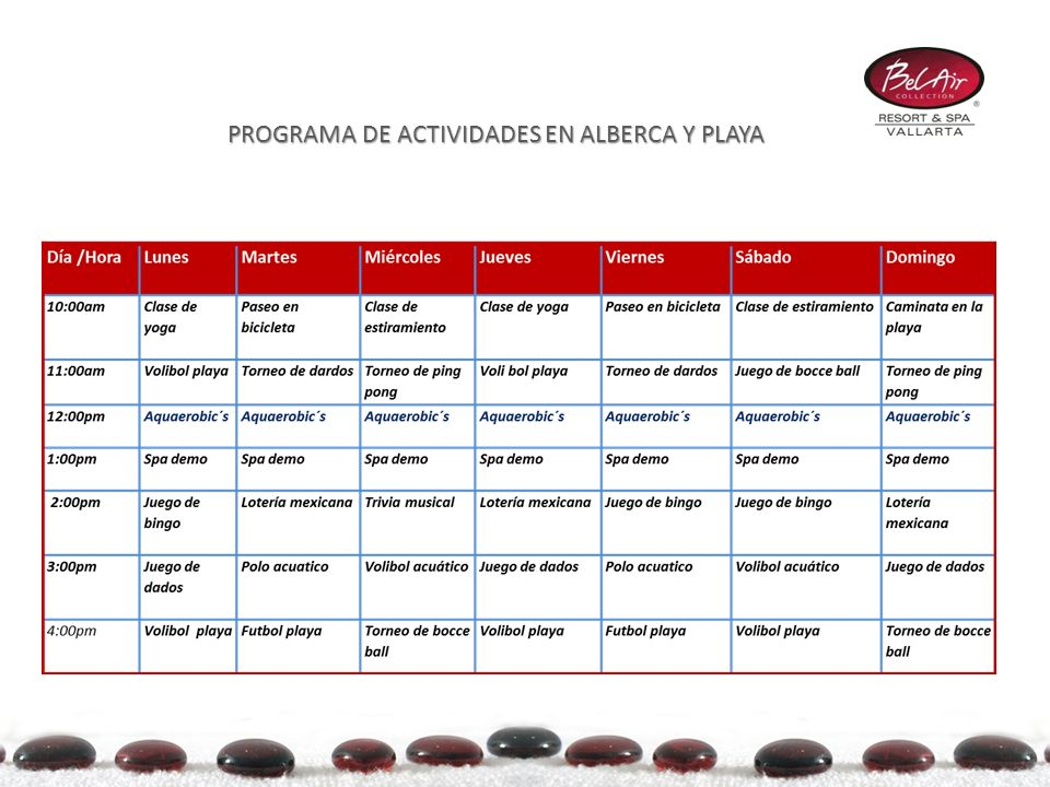 Kids Club PROGRAMA DE ACTIVIDADES EN ALBERCA Y PLAYA