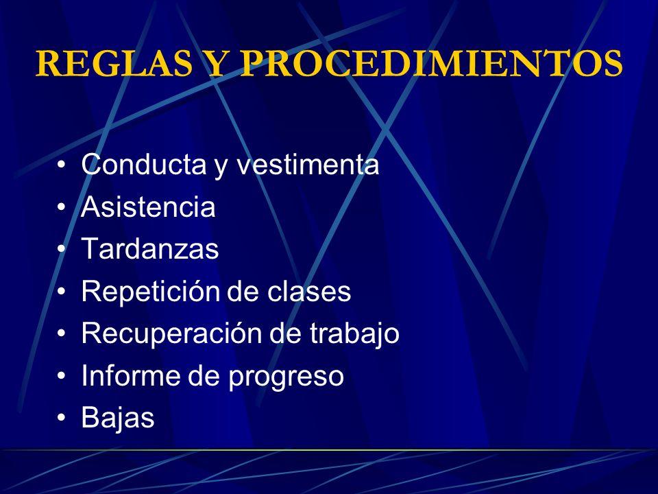 REGLAS Y PROCEDIMIENTOS Conducta y vestimenta Asistencia Tardanzas Repetición de clases Recuperación de trabajo Informe de progreso Bajas