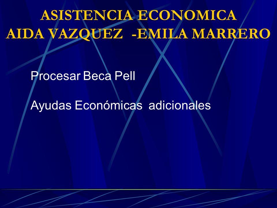 ASISTENCIA ECONOMICA AIDA VAZQUEZ -EMILA MARRERO Procesar Beca Pell Ayudas Económicas adicionales